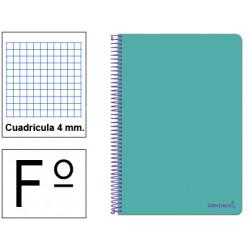 Cuaderno espiral tapa blanda liderpapel serie smart en formato fº, 80 hj. 60 grs/m². 4x4 c/m. color turquesa.