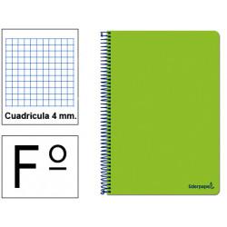 Cuaderno espiral tapa blanda liderpapel serie smart en formato fº, 80 hj. 60 grs/m². 4x4 c/m. color verde.