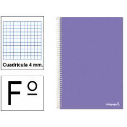 Cuaderno espiral tapa blanda liderpapel serie smart en formato fº, 80 hj. 60 grs/m². 4x4 c/m. color violeta.