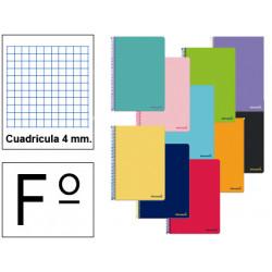 Cuaderno espiral tapa blanda liderpapel serie smart en formato fº, 80 hj. 60 grs/m². 4x4 c/m. colores surtidos.