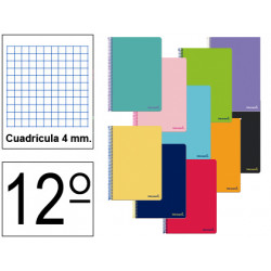 Cuaderno espiral tapa blanda liderpapel serie smart en formato 12º, 80 hj. 60 grs/m². 4x4 s/m. colores surtidos.