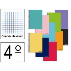 Cuaderno espiral tapa blanda liderpapel serie smart en formato 4º, 80 hj. 60 grs/m². 4x4 c/m. colores surtidos.