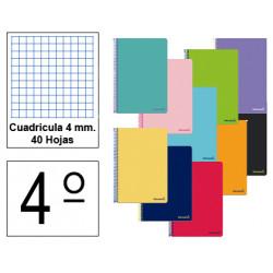 Cuaderno espiral tapa blanda liderpapel serie smart en formato 4º, 40 hj. 60 grs/m². 4x4 c/m. colores surtidos.