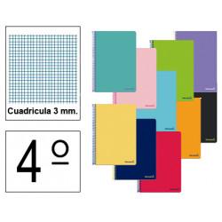 Cuaderno espiral tapa blanda liderpapel serie smart en formato 4º, 80 hj. 60 grs/m². 3x3 c/m. colores surtidos.
