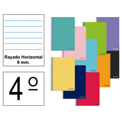 Cuaderno espiral tapa blanda liderpapel serie smart en formato 4º, 80 hj. 60 grs/m². rayado horizontal 8 mm. c/m. col. surtidos.