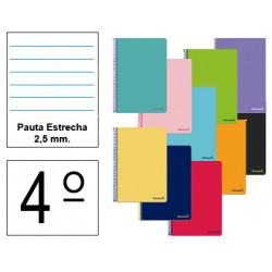 Cuaderno espiral tapa blanda liderpapel serie smart en formato 4º, 80 hj. 60 grs/m². pauta estrecha 2,5 mm. c/m. col. surtidos.
