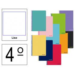 Cuaderno espiral tapa blanda liderpapel serie smart en formato 4º, 80 hj. 60 grs/m². liso s/m. colores surtidos.