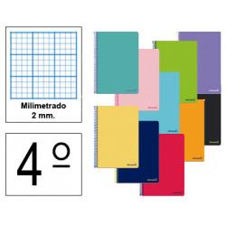 Cuaderno espiral tapa blanda liderpapel serie smart en formato 4º, 80 hj. 60 grs/m². milimetrado 2 mm. s/m. col. surtidos.