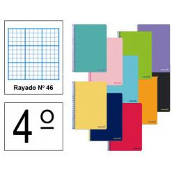 Cuaderno espiral tapa blanda liderpapel serie smart en formato 4º, 80 hj. 60 grs/m². rayado nº 46 s/m. colores surtidos.