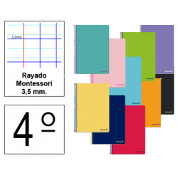 Cuaderno espiral tapa blanda liderpapel serie smart en formato 4º, 80 hj. 60 grs/m². rayado montessori 3,5 mm. c/m.
