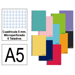 Cuaderno espiral tapa blanda liderpapel serie smart en formato din a-5, 80 hj. 60 grs/m². 5x5 c/m. microperforado, 6 taladros.