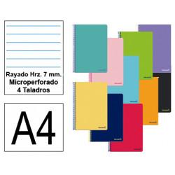 Cuaderno espiral tapa blanda liderpapel serie smart en formato din a-4, 80 hj. 60 grs/m². rayado hrz. 7 mm. c/m. 4 taladros.