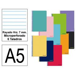 Cuaderno espiral tapa blanda liderpapel serie smart en formato din a-5, 80 hj. 60 grs/m². rayado hrz. 7 mm. c/m. 6 taladros.