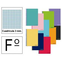Cuaderno espiral tapa blanda liderpapel serie smart en formato fº, 80 hj. 60 grs/m². 3x3 c/m. colores surtidos.
