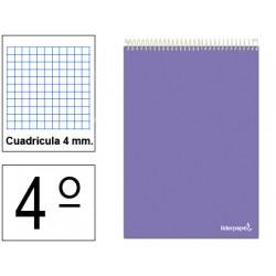 Cuaderno espiral tapa blanda liderpapel serie smart en formato 4º apaisado, 80 hj. 60 grs/m². 4x4 c/m. colores surtidos.