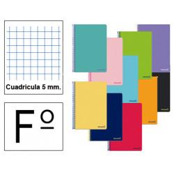 Cuaderno espiral tapa blanda liderpapel serie smart en formato fº, 80 hj. 60 grs/m². 5x5 c/m. colores surtidos.