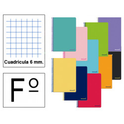 Cuaderno espiral tapa blanda liderpapel serie smart en formato fº, 80 hj. 60 grs/m². 6x6 c/m. colores surtidos.