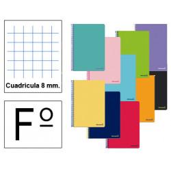 Cuaderno espiral tapa blanda liderpapel serie smart en formato fº, 80 hj. 60 grs/m². 8x8 c/m. colores surtidos.