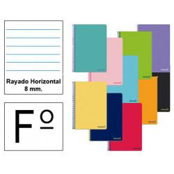 Cuaderno espiral tapa blanda liderpapel serie smart en formato fº, 80 hj. 60 grs/m². rayado horizontal 8 mm. c/m. col. surtidos.