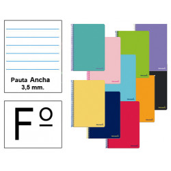 Cuaderno espiral tapa blanda liderpapel serie smart en formato fº, 80 hj. 60 grs/m². pauta ancha 3,5 mm. c/m. colores surtidos.