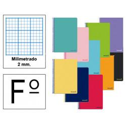 Cuaderno espiral tapa blanda liderpapel serie smart en formato fº, 80 hj. 60 grs/m². milimetrado 2 mm. s/m. col. surtidos.