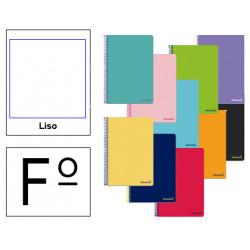 Cuaderno espiral tapa blanda liderpapel serie smart en formato fº, 80 hj. 60 grs/m². liso s/m. colores surtidos.