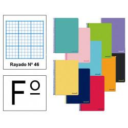 Cuaderno espiral tapa blanda liderpapel serie smart en formato fº, 80 hj. 60 grs/m². rayado nº 46 s/m. colores surtidos.