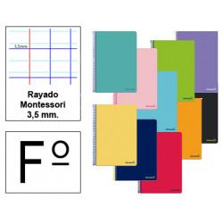 Cuaderno espiral tapa blanda liderpapel serie smart en formato fº, 80 hj. 60 grs/m². rayado montessori 3,5 mm. s/m.