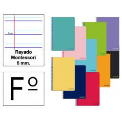 Cuaderno espiral tapa blanda liderpapel serie smart en formato fº, 80 hj. 60 grs/m². rayado montessori 5 mm. s/m.