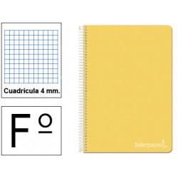 Cuaderno espiral tapa dura liderpapel serie witty en formato fº, 80 hj. 75 grs/m². 4x4 c/m. color amarillo.
