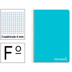 Cuaderno espiral tapa dura liderpapel serie witty en formato fº, 80 hj. 75 grs/m². 4x4 c/m. color celeste.