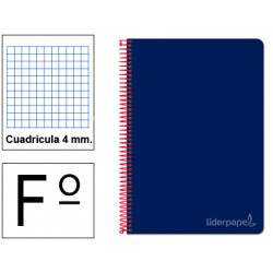 Cuaderno espiral tapa dura liderpapel serie witty en formato fº, 80 hj. 75 grs/m². 4x4 c/m. color azul oscuro.