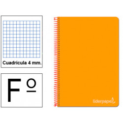 Cuaderno espiral tapa dura liderpapel serie witty en formato fº, 80 hj. 75 grs/m². 4x4 c/m. color naranja.