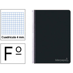 Cuaderno espiral tapa dura liderpapel serie witty en formato fº, 80 hj. 75 grs/m². 4x4 c/m. color negro.