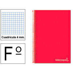 Cuaderno espiral tapa dura liderpapel serie witty en formato fº, 80 hj. 75 grs/m². 4x4 c/m. color rojo.