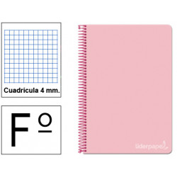 Cuaderno espiral tapa dura liderpapel serie witty en formato fº, 80 hj. 75 grs/m². 4x4 c/m. color rosa.