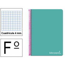Cuaderno espiral tapa dura liderpapel serie witty en formato fº, 80 hj. 75 grs/m². 4x4 c/m. color turquesa.