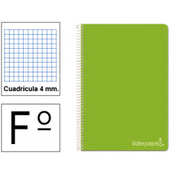 Cuaderno espiral tapa dura liderpapel serie witty en formato fº, 80 hj. 75 grs/m². 4x4 c/m. color verde.
