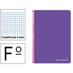 Cuaderno espiral tapa dura liderpapel serie witty en formato fº, 80 hj. 75 grs/m². 4x4 c/m. color violeta.