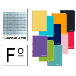 Cuaderno espiral tapa dura liderpapel serie inspire en formato fº, 80 hj. 60 grs. 3x3 c/m. 8 colores surtidos.