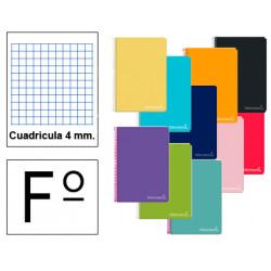 Cuaderno espiral tapa dura liderpapel serie inspire en formato fº, 80 hj. 60 grs. 4x4 c/m. 8 colores surtidos.