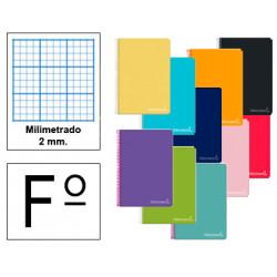 Cuaderno espiral tapa dura liderpapel serie inspire en formato fº, 80 hj. 60 grs. milimetrado s/m. 8 colores surtidos.