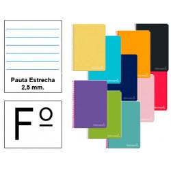 Cuaderno espiral tapa dura liderpapel serie witty en formato fº, 80 hj. 75 grs/m². pauta estrecha 2,5 mm. c/m. col. surtidos.
