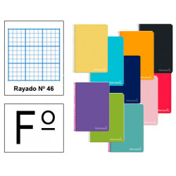 Cuaderno espiral tapa dura liderpapel serie witty en formato fº, 80 hj. 75 grs/m². rayado nº 46 s/m. colores surtidos.