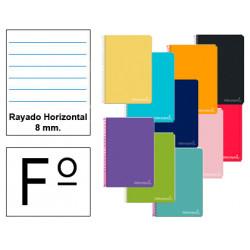 Cuaderno espiral tapa dura liderpapel serie inspire en formato fº, 80 hj. 60 grs. rayado horizontal c/m. 8 colores surtidos.