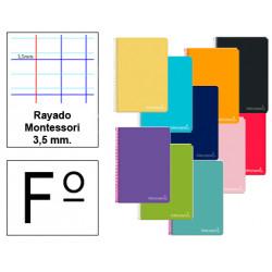 Cuaderno espiral tapa dura liderpapel serie witty en formato fº, 80 hj. 75 grs/m². rayado montessori 3,5 mm. c/m.