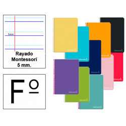 Cuaderno espiral tapa dura liderpapel serie witty en formato fº, 80 hj. 75 grs/m². rayado montessori 5 mm. c/m.