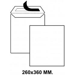 Bolsa con tira de silicona up en formato 260x360 mm. offset, 100 grs/m². color blanco.