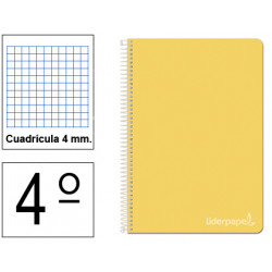 Cuaderno espiral tapa dura liderpapel serie witty en formato 4º, 80 hj. 75 grs/m². 4x4 c/m. color amarillo.