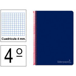 Cuaderno espiral tapa dura liderpapel serie witty en formato 4º, 80 hj. 75 grs/m². 4x4 c/m. color azul marino.